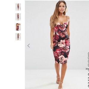 ASOS Burgundy Floral Bodycon Midi Dress